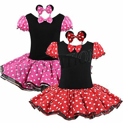 Girl Baby Minnie Mouse Ballet Party Dress Up Tutus Outfit Child Kids Clothes Set