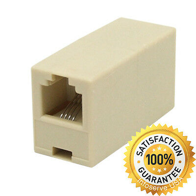 - 4C RJ11 Telephone Phone Jack Line Coupler Adapter Connector for Exten Cord Beige