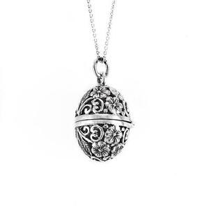Silverly .925 Sterling Silver Filigree Faberge Locket Necklace