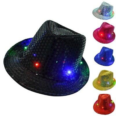 LED Light Up Sequin Fedora Hat Costume Novelty Party Accessory Festival New - Led Light Up Costumes