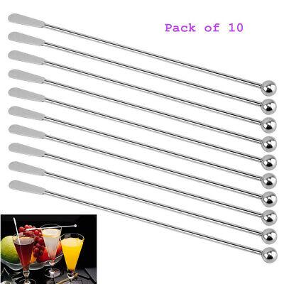Drink Swizzle Sticks (10Pcs Cocktail Stirrers Stainless Steel Drink Juice Swizzle Sticks Milk)