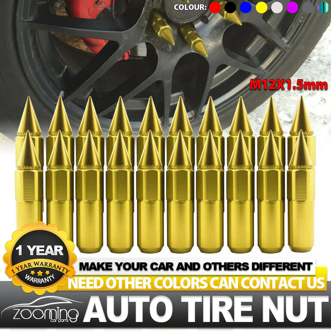 20PCS 60mm M12X1.5 Cap Spiked Extended Tuner Aluminum Wheels Rims Lug Nuts Gold