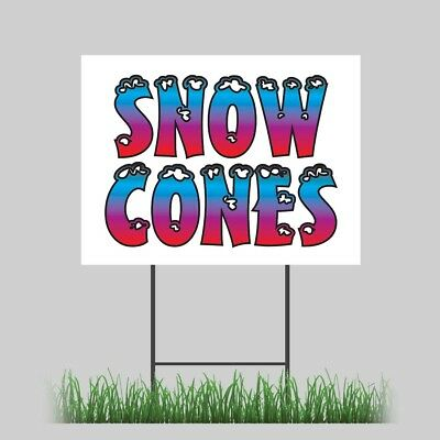 18x24 Snow Cones Yard Sign Retail Concession Stand Outdoor Vinyl Sign