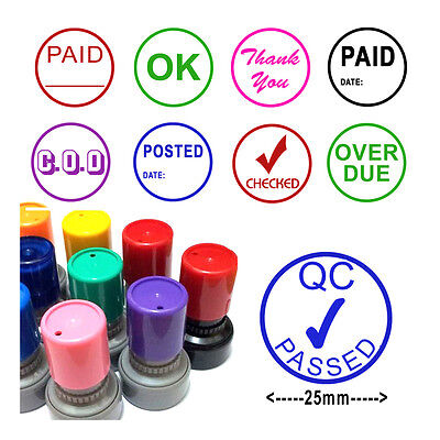 Self Inking Rubber Word Stamp 25mm Office School Business Accounts Shop Bar