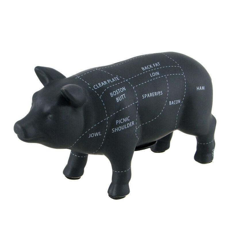 Large Black Ceramic Pig Shaped Coin Bank Butcher Chart Piggy Bank 7 1/4 Inch