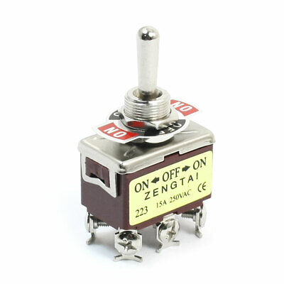 ON-OFF-ON DPDT Momentary Rocker Type Control Toggle Switch AC 250V 15A E-TEN223 Dpdt Momentary Switch Type