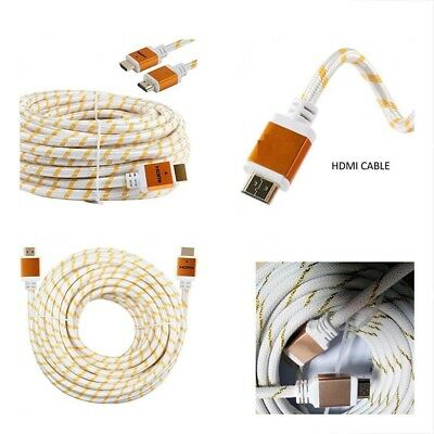 Premium HDMI Cable Cord 3ft 6ft 10ft 15ft 25ft 30ft 50ft 75ft 100ft White LOT US Cable 3' Hdmi Cable