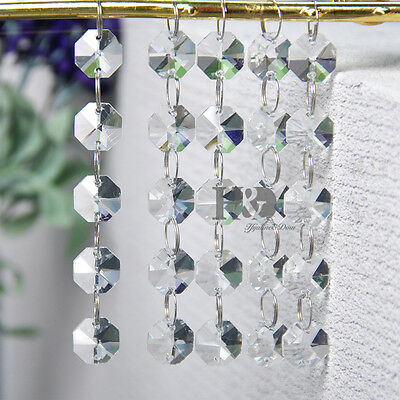 Octagon Prism Chandelier Chain - 5 Strings Clear Crystal Chandelier Prism Lamp Octagon Bead Chain Wedding Pendant