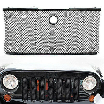 Stainless Front Hood Grille Bug Screen 3D Mesh Grill Insert for Jeep Wrangler JK ()
