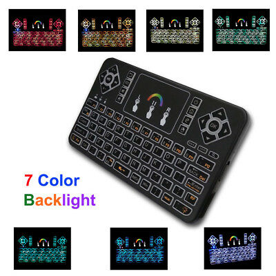 Q9 Mini 7 Color Backlit Handheld USB Wireless Keyboard+Touchpad Remote Control