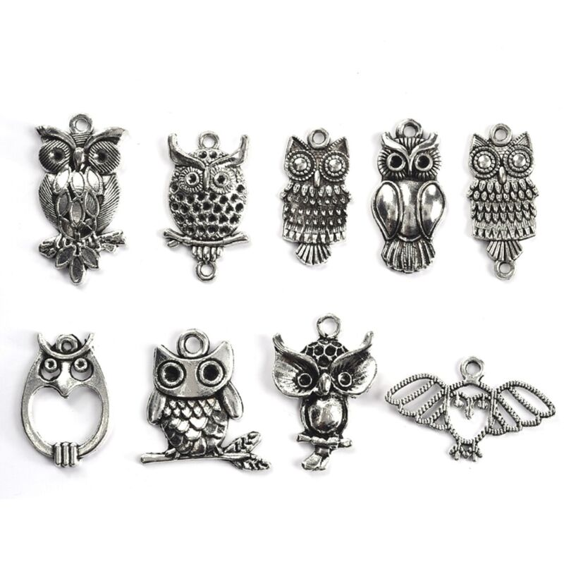 20pcs Antique Silver Owl Charms Pendants For Jewelry Making Findings Craft
