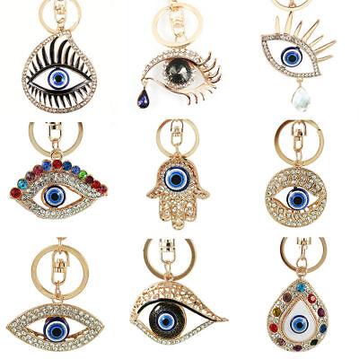 Alloy Meatl Crystal Evil Eye Key Ring Keychain Charms HandBag Pendant Car Decor
