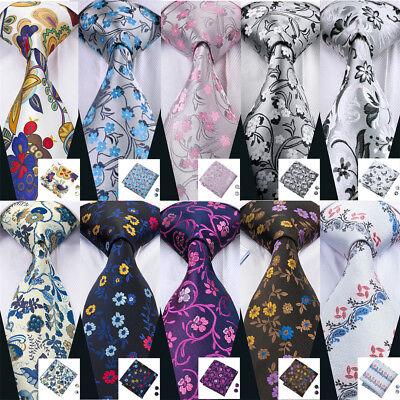 USA 50 Style Silk Men Tie Floral Necktie Blue Pink Red Tie Hanky Cufflinks Set