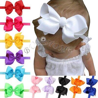12PCs Kids Girls Baby Headband Toddler Bow Flower Hair Band Accessories Headwear