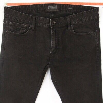 Mens SuperDry SKINNY Stretch Black Jeans W35 W36 L32