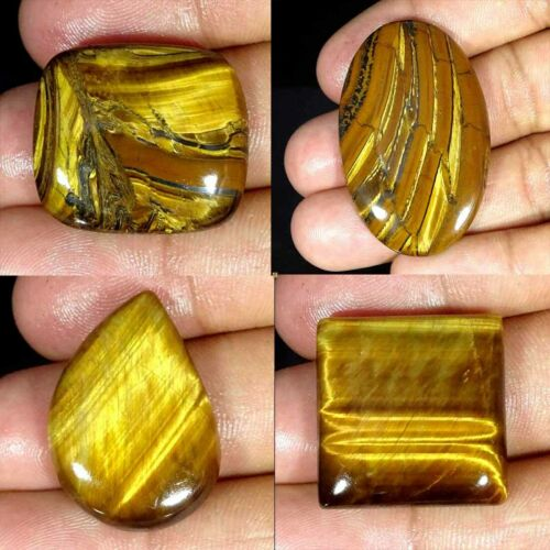 Natural Golden Tiger Eye Pear Oval Cushion Cabochon Loose Gemstone Collection
