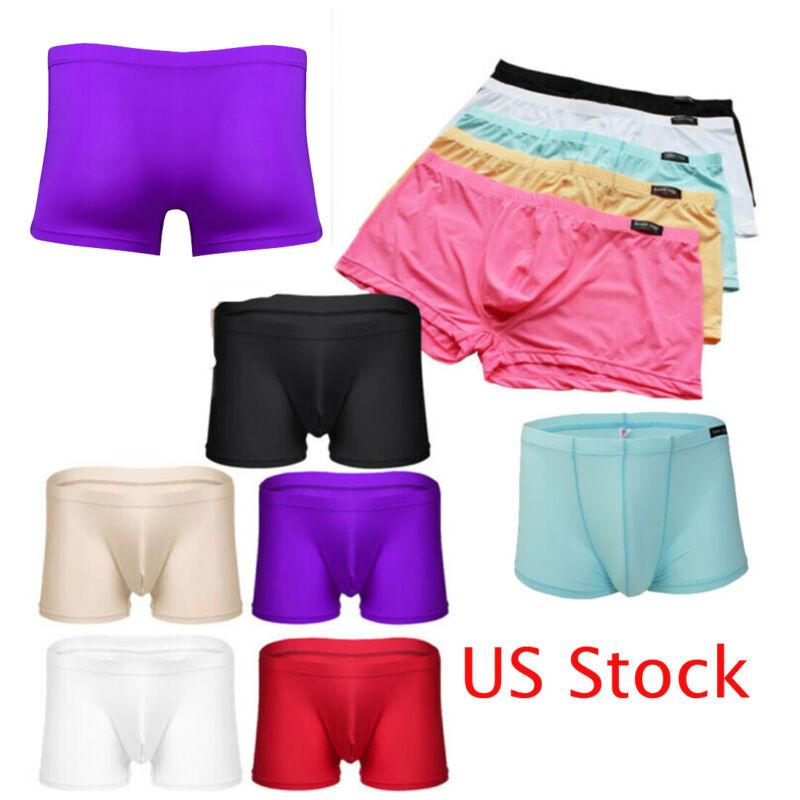 Men Ice Silk Underwear G-String Boxer Brief Mesh Thong Biniki Lingerie Underpant
