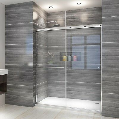 "Apt 60"" Semi-Frameless 1/4"" Clear Glass 2 Sliding Shower Door Chrome Complete"