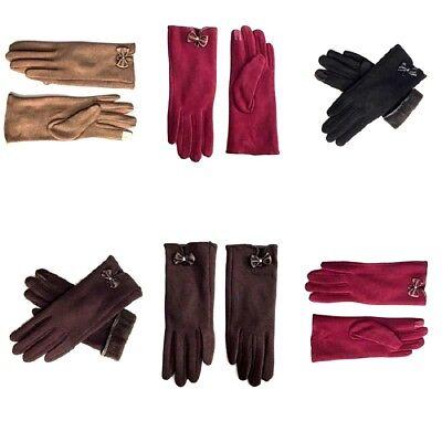 Women Ladies Warm Fleece Gloves Warm Thermal Fur Lined Bow  Winter Glove