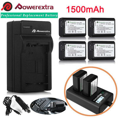 NP-FW50 Battery for Sony Alpha A6500 A6300 A6000 A7r A7 & LCD Dual USB Charger (6300 Lcd)