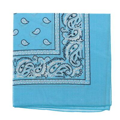 Large Blue Classic Paisley 22 inch Baby Blue Bandana Brand New 100% Cotton - Baby Blue Bandana