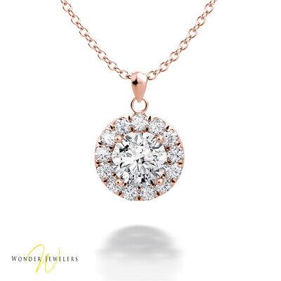 1.07ctw GIA Round Diamond Halo Necklace Pendant 14K Rose Gold H/VVS2(6301125199)