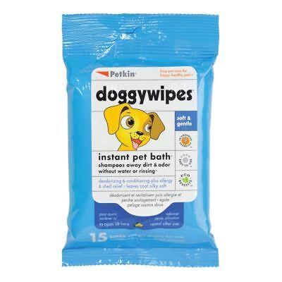 Extra Large Dog Wipes 15pcs Sheets Waterless Bath Dry Shampoo Safe Non-Toxic