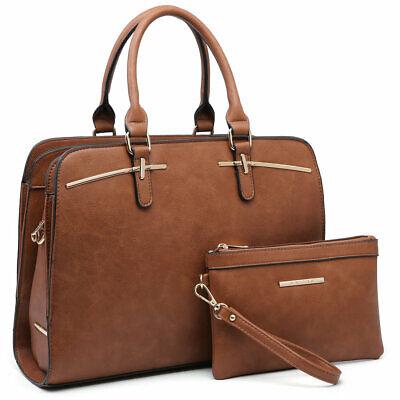 Women Handbag Laptop Briefcase Purse Satchel w/ Match Wallet (Gold Handbag)