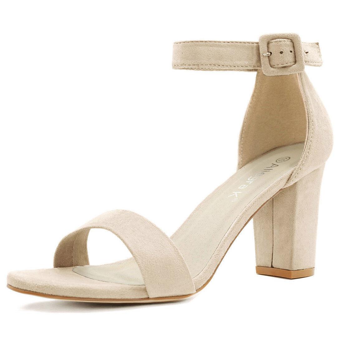 c130a87b11369 Allegra K Women's Open Toe Chunky High Heel Ankle Strap Sandals Beige US 6