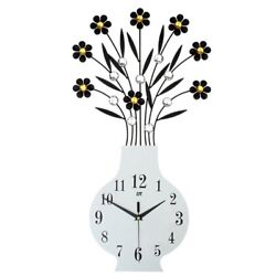 3D Large Flower Vase Design Crystal Iron Wall Clock W/ Wall Hooks 30.3L 15.8W