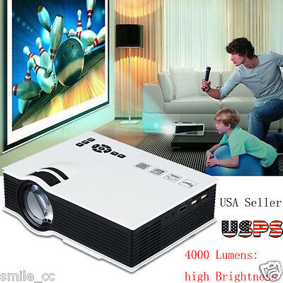 4000 LUMENS 3D 1080P FULL HD HOME THEATER MULTIMEDIA USB HDMI LED PROJECTOR