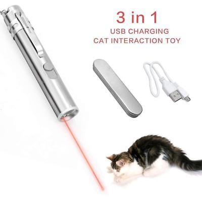 Cat Interactive Toy Laser Pointer Led Flashlight USB Rechargeable UV Torch Pen