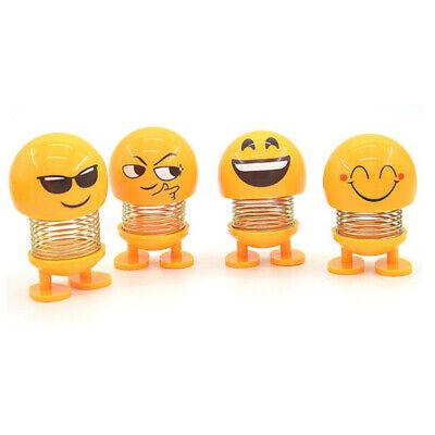 Emoji Spring Shaking Head Doll Toy Car Ornaments Car Dashboard Decor Pack of 4