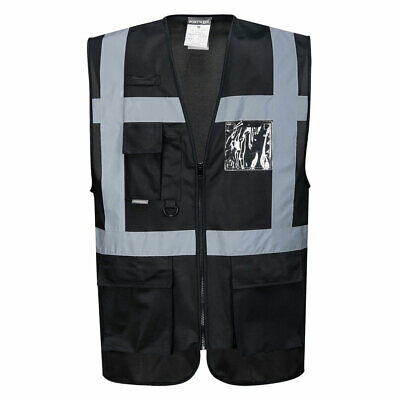 Portwest Uf476 Iona Executive Vest For Extra Visibility In Black Navy Blue