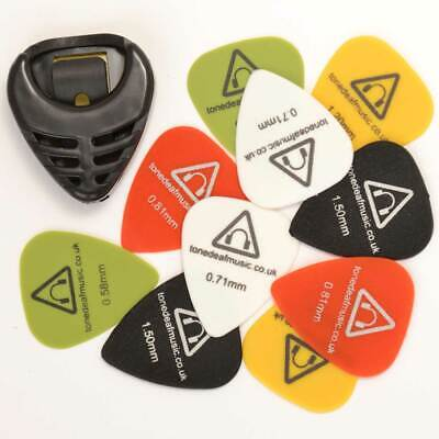 10 X Guitarra Púas & Soporte Acústico Bajo Eléctrico Plectro Recoger Tono...
