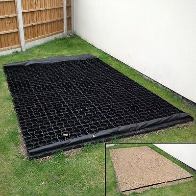 5' x 5' SHED BASE KIT - WEED FABRIC & 25 TRUEPAVE PLASTIC PAVER GRIDS Drive Path