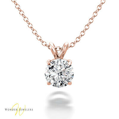 0.62ct GIA Round Diamond Solitaire Necklace Pendant 14K Gold E/VVS1 (1293245744)