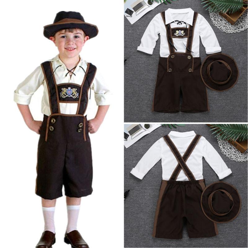 Boys Bavarian Lederhosen Oktoberfest Fancy Dress Costume Outfit 5-12 Years