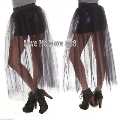Black Tutu Womens (Womens Street  Punky Tulle Tutu See Through Casual Dance BLACK Mesh Long  Skirt)