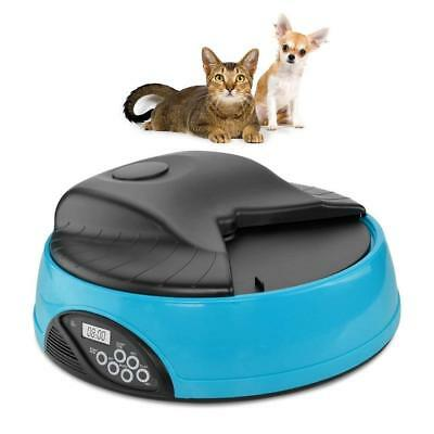 4 Meal Programmable Timer Automatic Pet Dog Cat Feeder Water Tray Bowl BLUE NEW