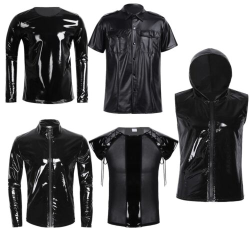 Men Male Metallic Wet Look PVC Leather Shiny T-Shirt//Underwear Club Wear