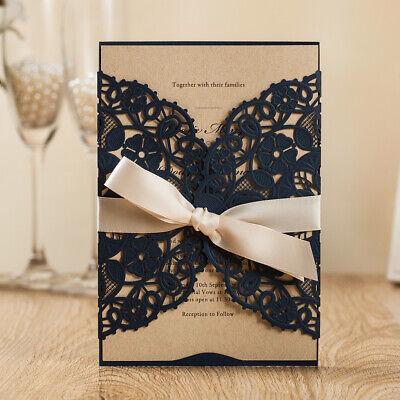 Wedding Invitations With Ribbon (Navy Blue Wedding Invitation with Ribbon Party Invite Envelope Rustic Insert )