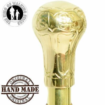 Premium Solid High Grade Brass & Natural Golden Finish Handle only Walking Stick
