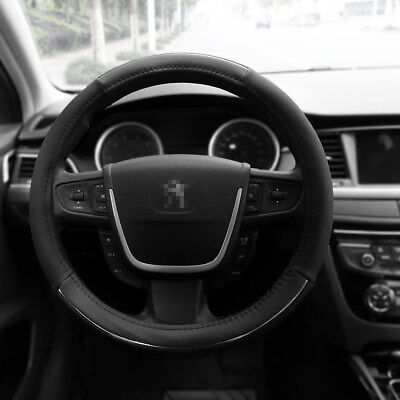 """Leather Car Steering Wheel Cover Black Gray Size M 15"""" PU Auto Car Universal Fit"""