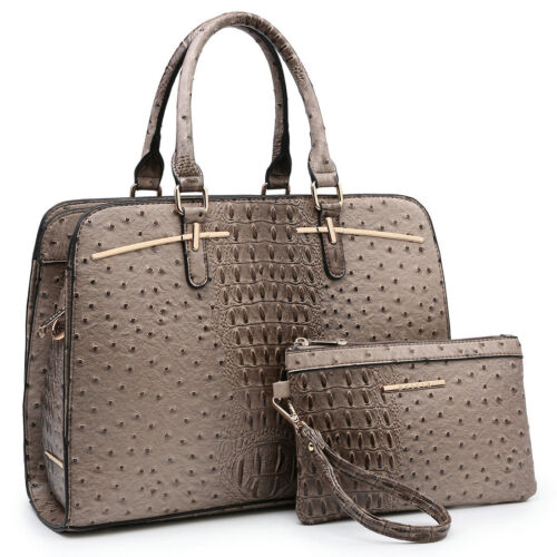 Women Ostrich Faux Leather Satchel Large Handbag w/ Matching
