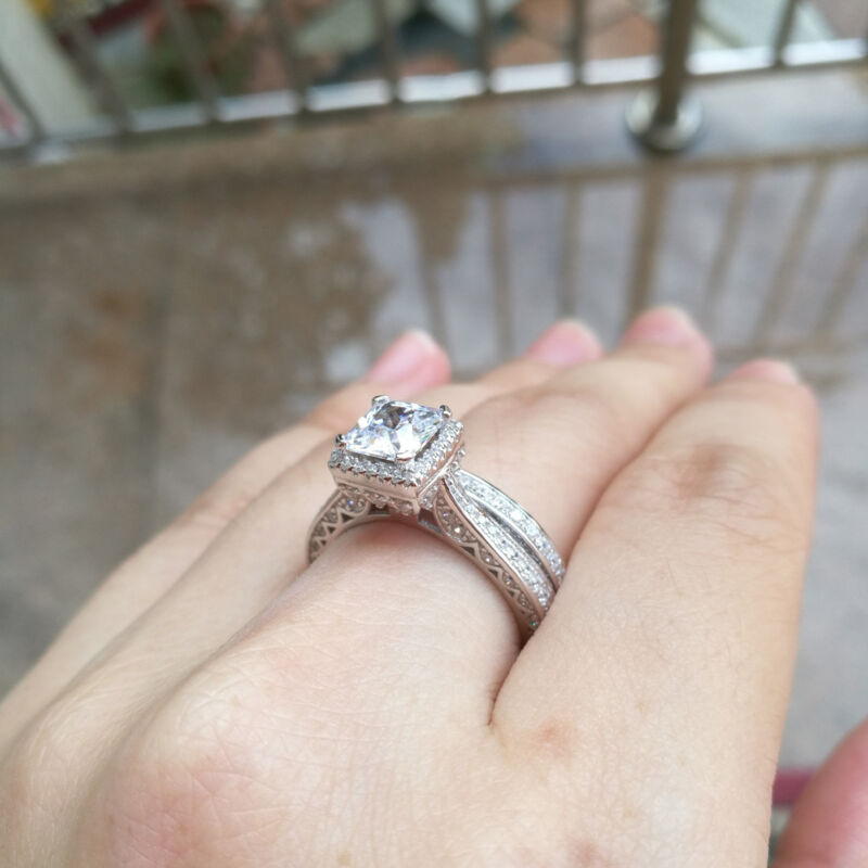 Wedding Engagement Ring Set For Women Princess Aaaa Cz 925 Sterling Silver Sz 7