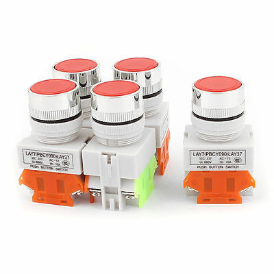 5 Pcs Red 22mm Stopstart No Lamp Push Button Switch 660v 10 Amp