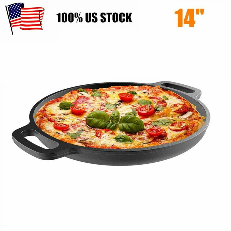 14 Inch Cast Iron Pizza Pan Round Non Stick Skillet Cooking