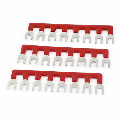 3pcs Tb2508 Fork Type 8 Position Terminal Strip Jumper Connector Red 600v 25a