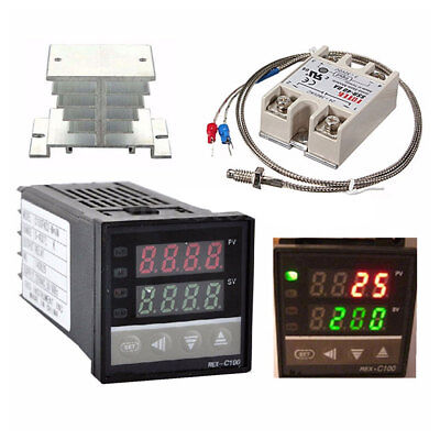 Pid Rex-c100 Temperature Controller Set Ssr 40da K Thermocouple Heat Sink Bs40